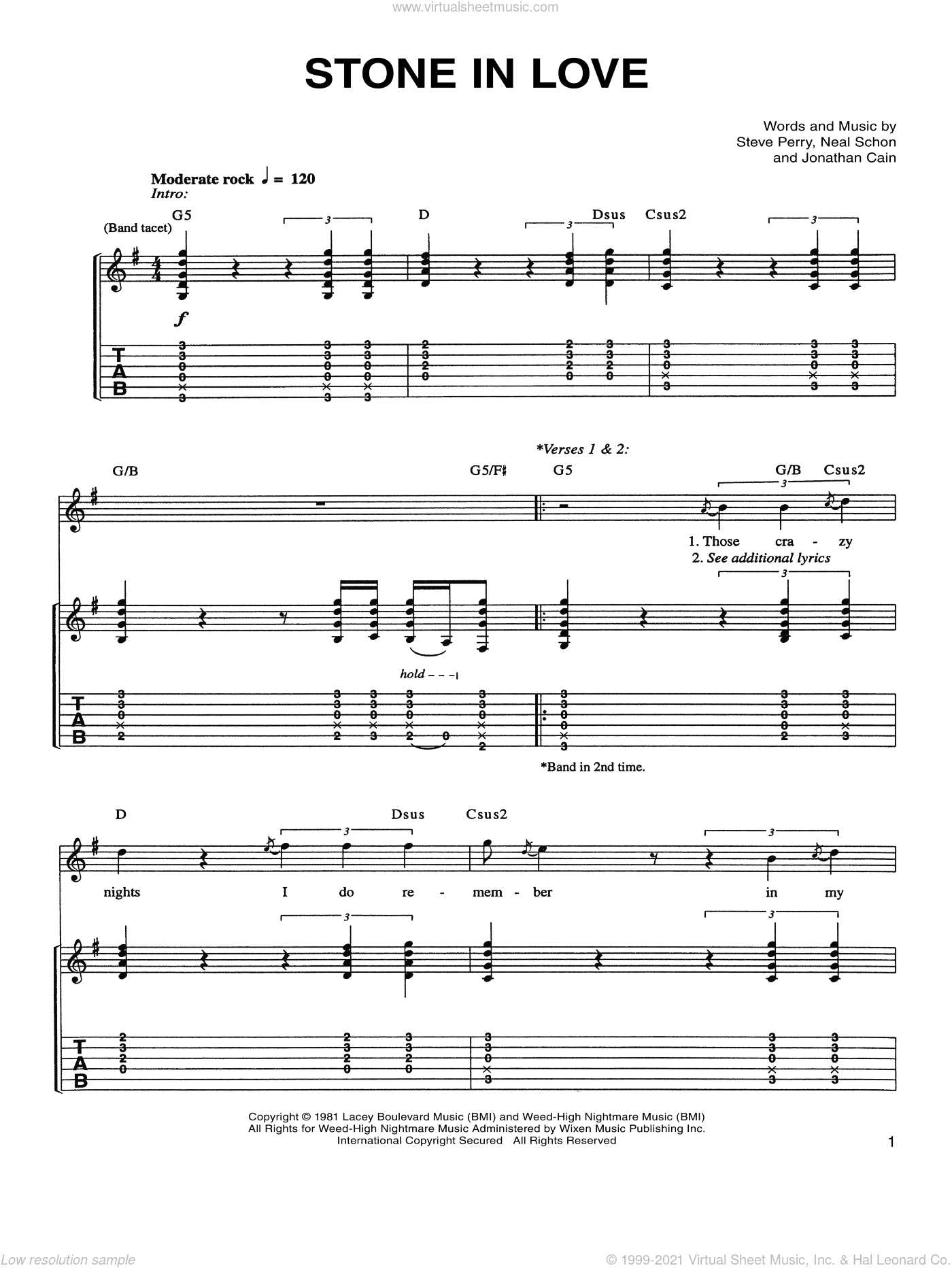 Stone In Love sheet music for guitar (tablature) by Journey, Jonathan Cain, Neal Schon and Steve Perry, intermediate