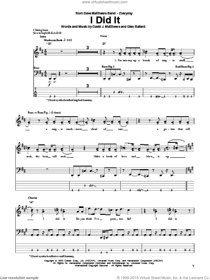 I Did It sheet music for bass (tablature) (bass guitar) by Dave Matthews Band and Glen Ballard, intermediate
