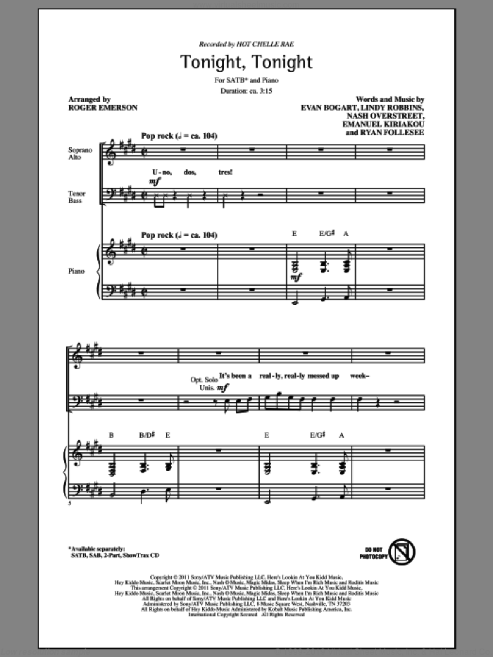 Tonight Tonight sheet music for choir (SATB: soprano, alto, tenor, bass) by Evan Bogart, Emanuel Kiriakou, Lindy Robbins, Nash Overstreet, Ryan Follesee, Hot Chelle Rae and Roger Emerson, intermediate skill level
