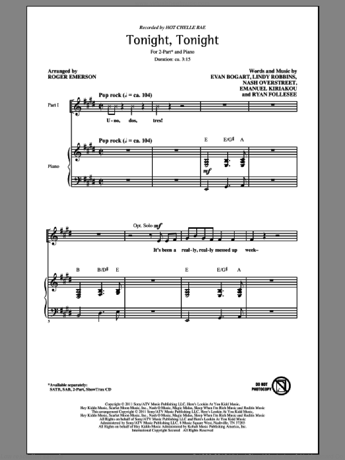 Tonight Tonight sheet music for choir (duets) by Emanuel Kiriakou, Lindy Robbins, Hot Chelle Rae and Roger Emerson. Score Image Preview.