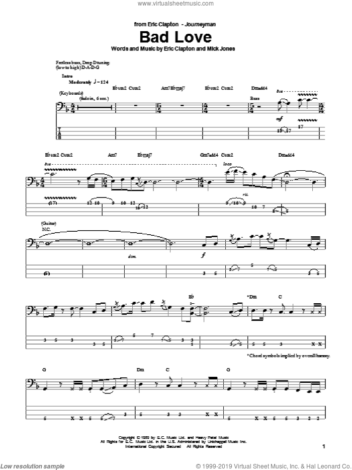 Bad Love sheet music for bass (tablature) (bass guitar) by Eric Clapton and Mick Jones, intermediate skill level