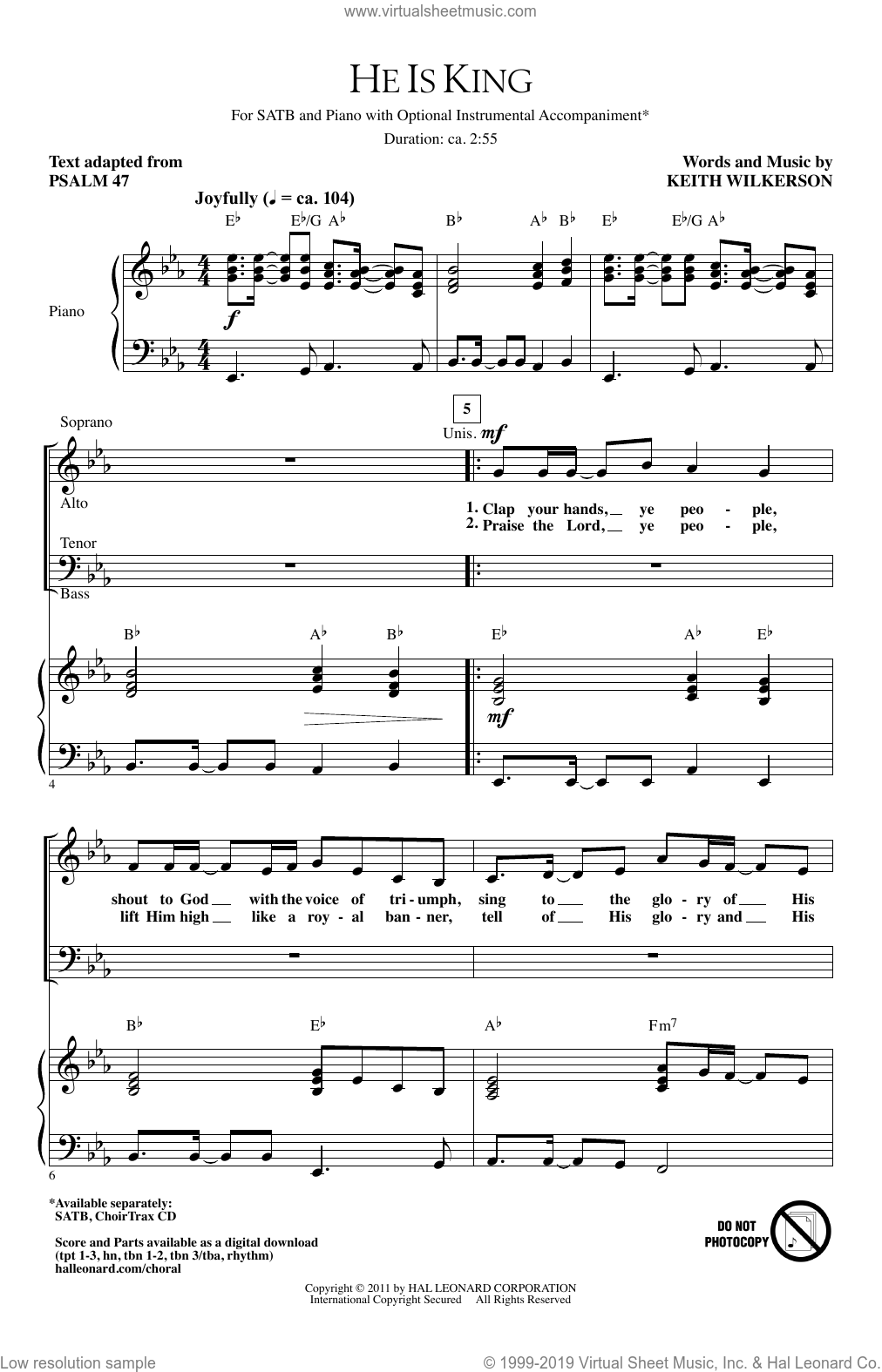 He Is King sheet music for choir (SATB) by Keith Wilkerson. Score Image Preview.