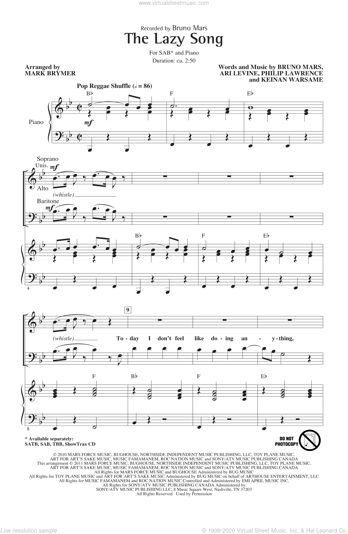 The Lazy Song sheet music for choir (SAB) by Bruno Mars, Ari Levine, Keinan Warsame, Philip Lawrence and Mark Brymer, intermediate choir (SAB). Score Image Preview.