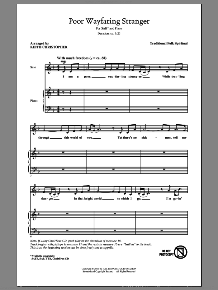 Poor Wayfaring Stranger sheet music for choir (SAB) by Keith Christopher. Score Image Preview.