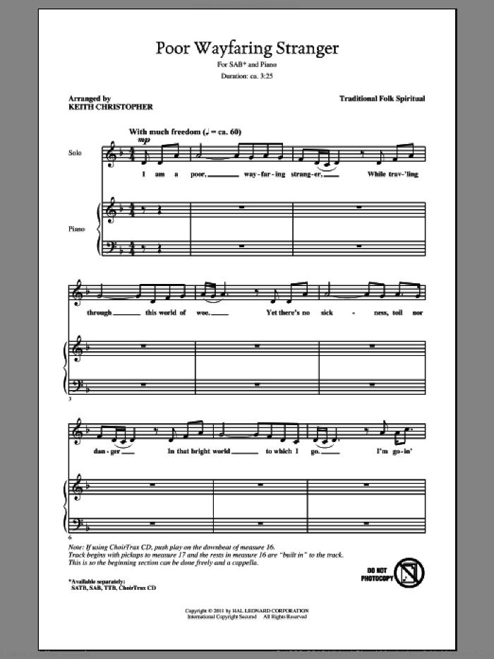 Christopher - Poor Wayfaring Stranger sheet music for choir (SAB: soprano,  alto, bass)