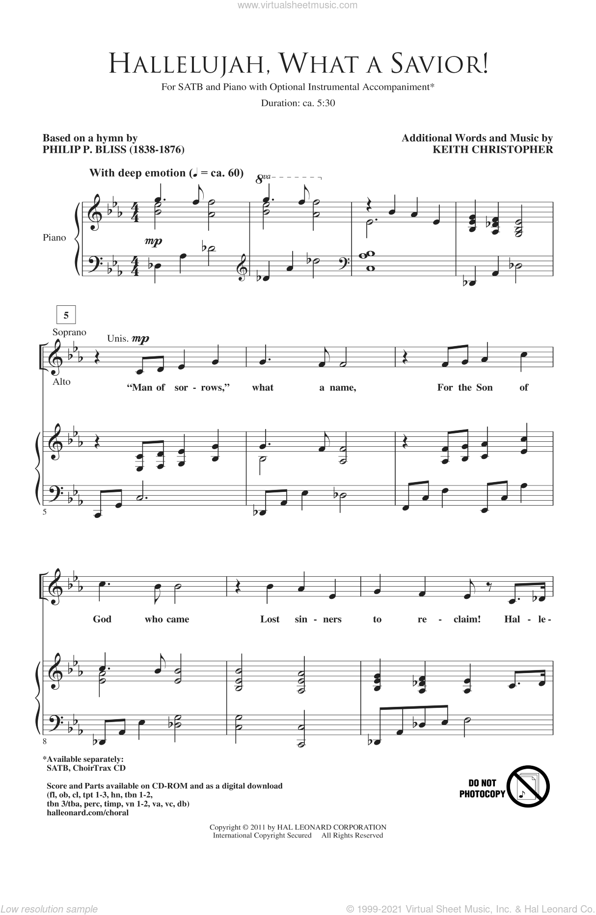 Hallelujah! What A Savior! sheet music for choir (SATB: soprano, alto, tenor, bass) by Philip P. Bliss and Keith Christopher, intermediate skill level