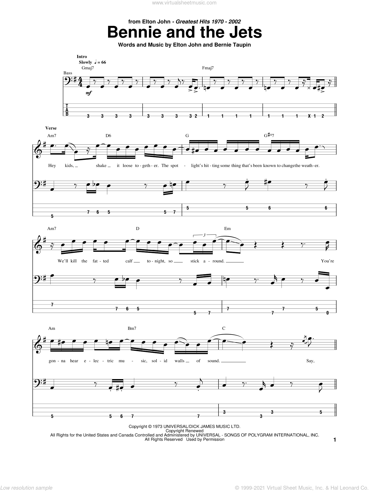 Bennie And The Jets sheet music for bass (tablature) (bass guitar) by Bernie Taupin and Elton John. Score Image Preview.