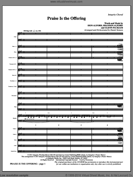 Praise Is The Offering (COMPLETE) sheet music for orchestra by Glenn Packiam and Daniel Semsen, intermediate orchestra. Score Image Preview.