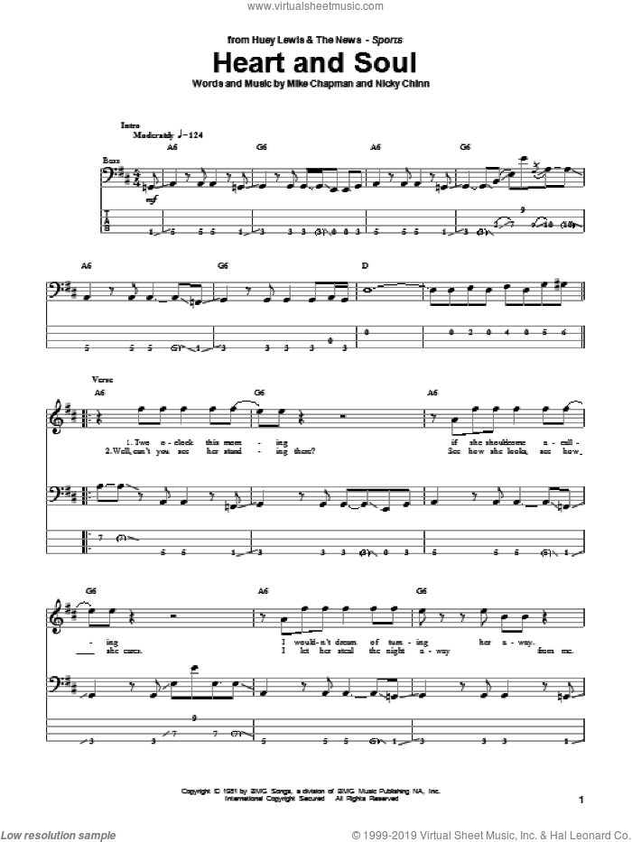 Heart And Soul sheet music for bass (tablature) (bass guitar) by Nicky Chinn and Mike Chapman. Score Image Preview.