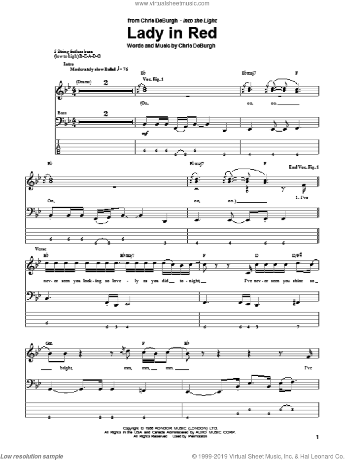 Lady In Red sheet music for bass (tablature) (bass guitar) by Chris de Burgh, intermediate skill level