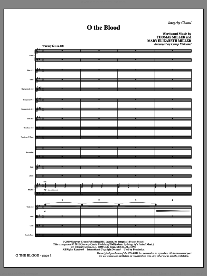 O The Blood (complete set of parts) sheet music for orchestra/band (Orchestra) by Thomas Miller, Mary Elizabeth Miller and Camp Kirkland, intermediate. Score Image Preview.