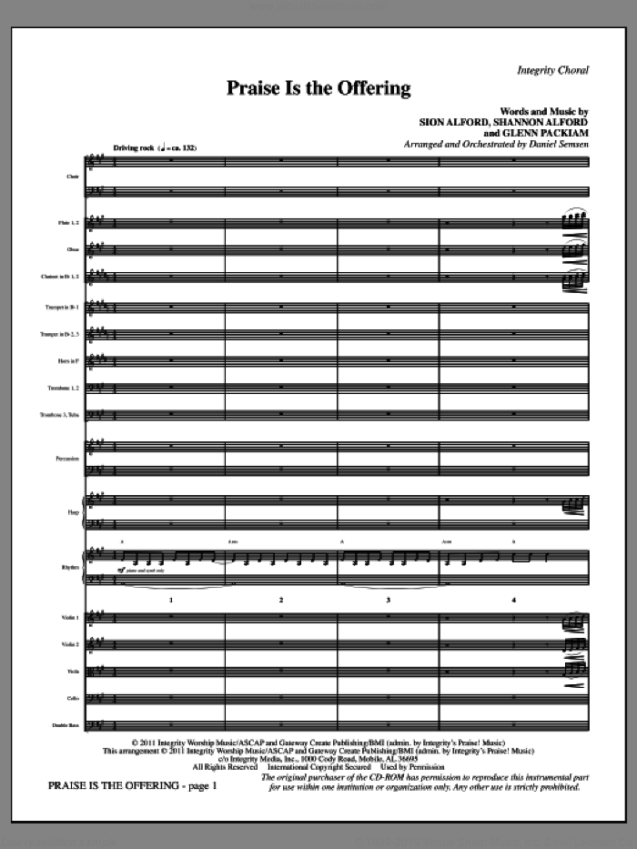 Praise Is The Offering (complete set of parts) sheet music for orchestra/band (Orchestra) by Glenn Packiam and Daniel Semsen, intermediate. Score Image Preview.