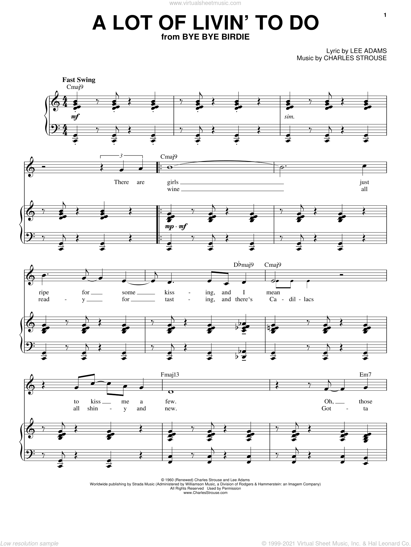 A Lot Of Livin' To Do sheet music for voice and piano by Lee Adams, Bryan Adams, Dean Martin, Frank Sinatra and Charles Strouse. Score Image Preview.