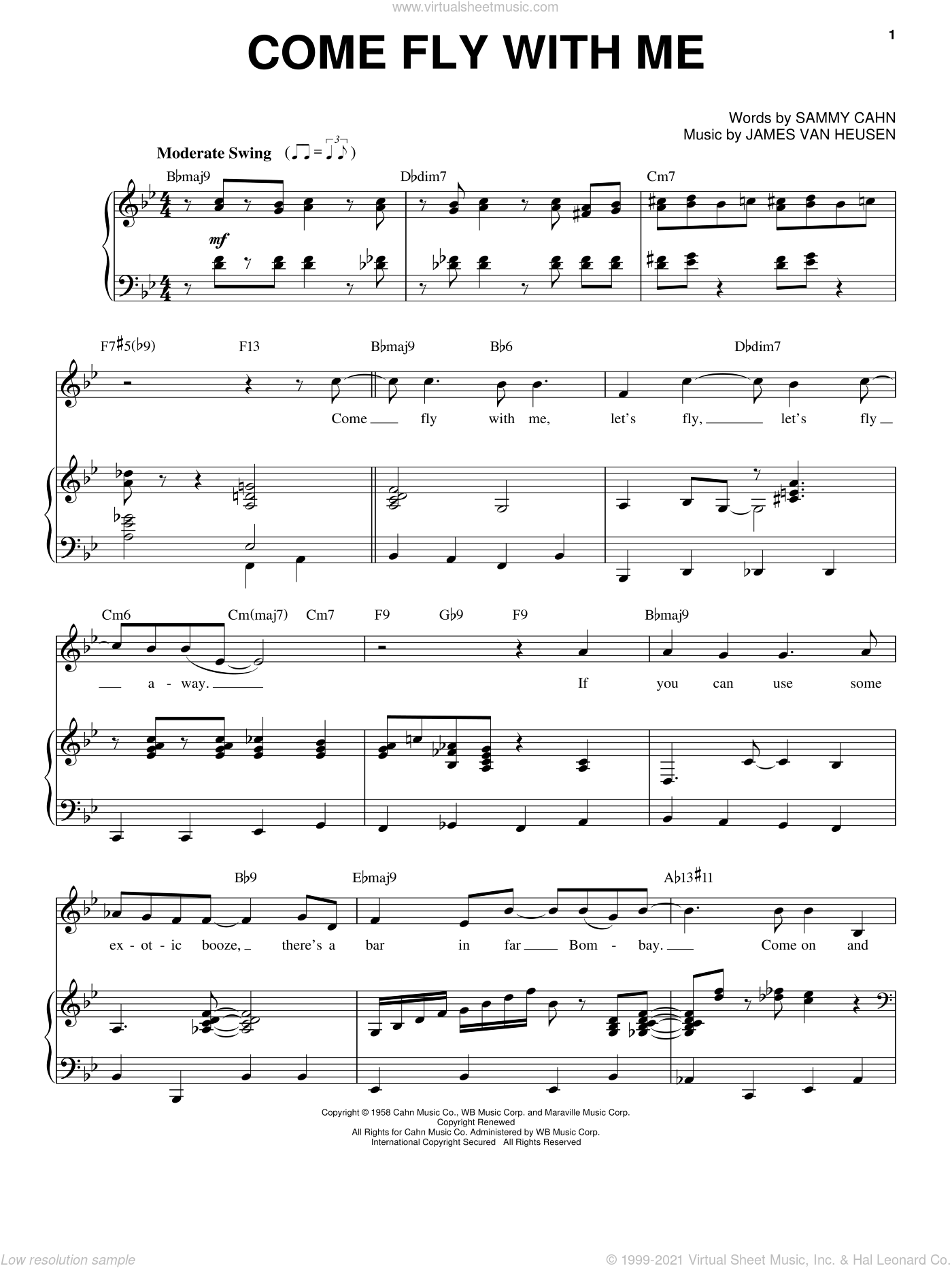 Come Fly With Me sheet music for voice and piano by Frank Sinatra, Dean Martin, Sammy Davis, Jr., Jimmy van Heusen and Sammy Cahn, intermediate. Score Image Preview.