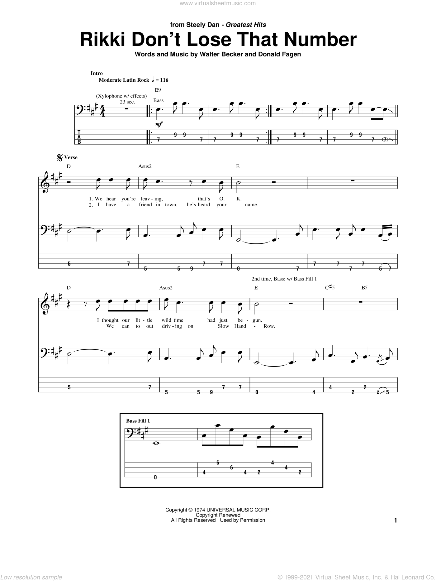 Rikki Don't Lose That Number sheet music for bass (tablature) (bass guitar) by Walter Becker and Donald Fagen. Score Image Preview.