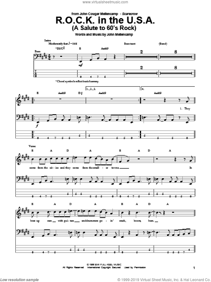 R.O.C.K. In The U.S.A. (A Salute To 60's Rock) sheet music for bass (tablature) (bass guitar) by John Mellencamp, intermediate