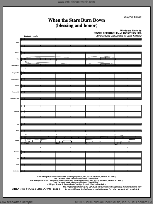 When The Stars Burn Down (Blessing And Honor) (COMPLETE) sheet music for orchestra by Jennie Lee Riddle, Jonathan Lee and Camp Kirkland. Score Image Preview.