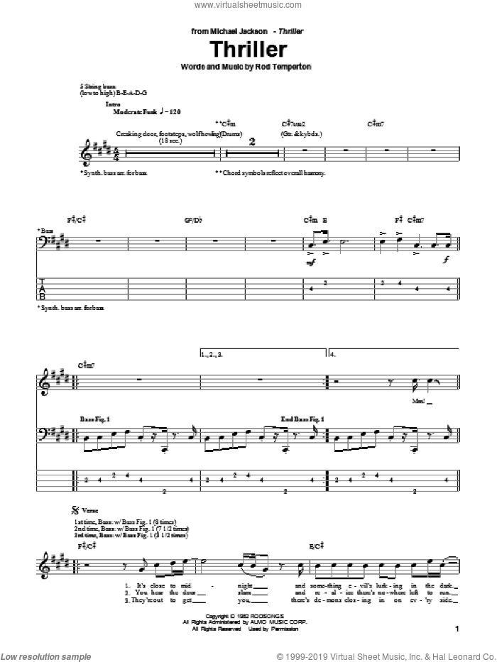 Jackson Thriller Sheet Music For Bass Tablature Bass Guitar