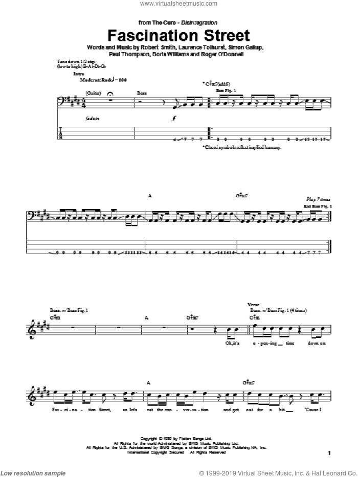 Fascination Street sheet music for bass (tablature) (bass guitar) by Simon Gallup, The Cure, Boris Williams, Laurence Tolhurst, Paul Thompson and Robert Smith. Score Image Preview.