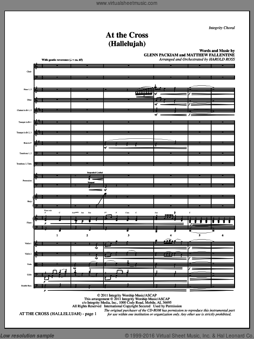 At The Cross (Hallelujah) (COMPLETE) sheet music for orchestra by Glenn Packiam and Harold Ross, intermediate. Score Image Preview.