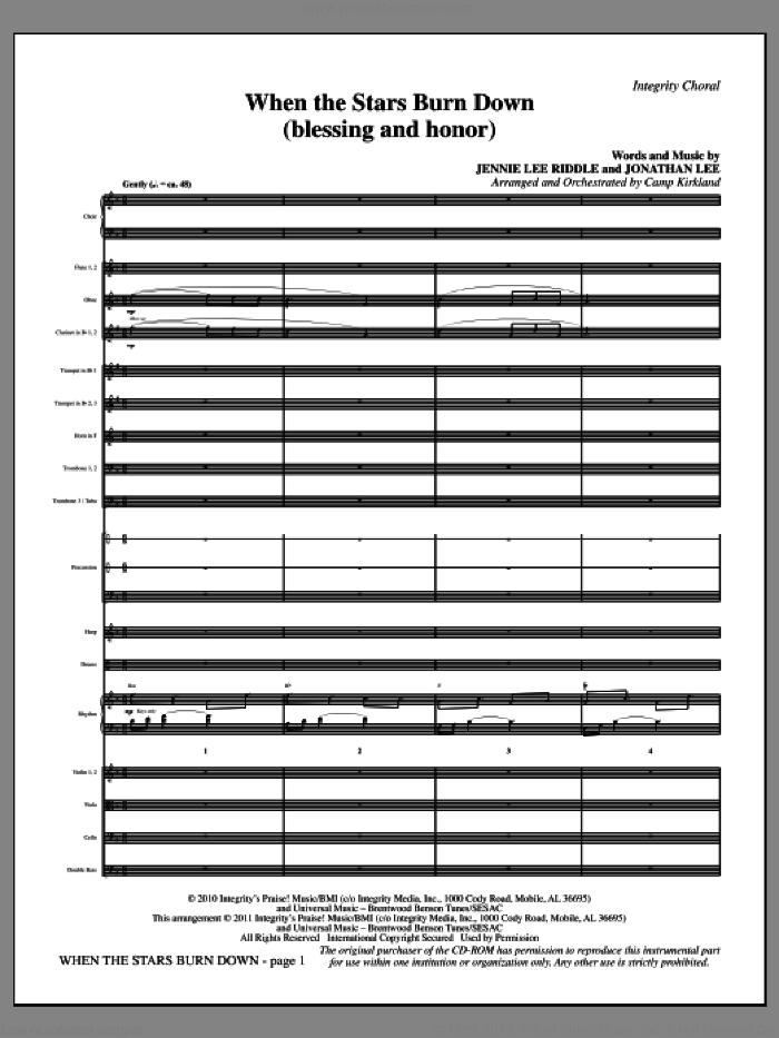 When The Stars Burn Down (Blessing And Honor) (complete set of parts) sheet music for orchestra/band (Orchestration) by Jennie Lee Riddle, Jonathan Lee and Camp Kirkland, intermediate skill level
