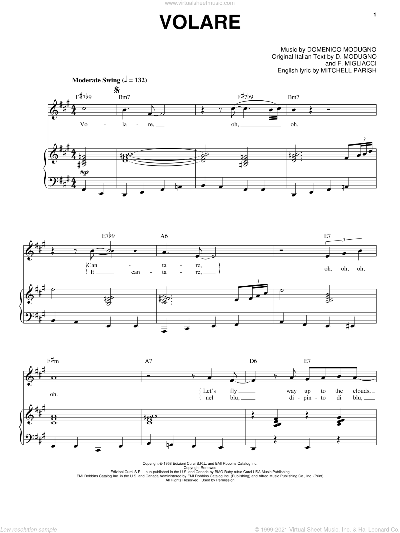 Volare (Nel Blu, Dipinto Di Blu) sheet music for voice and piano by Mitchell Parish