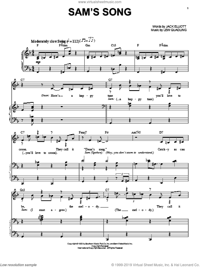 Sam's Song sheet music for voice and piano by Lew Quadling