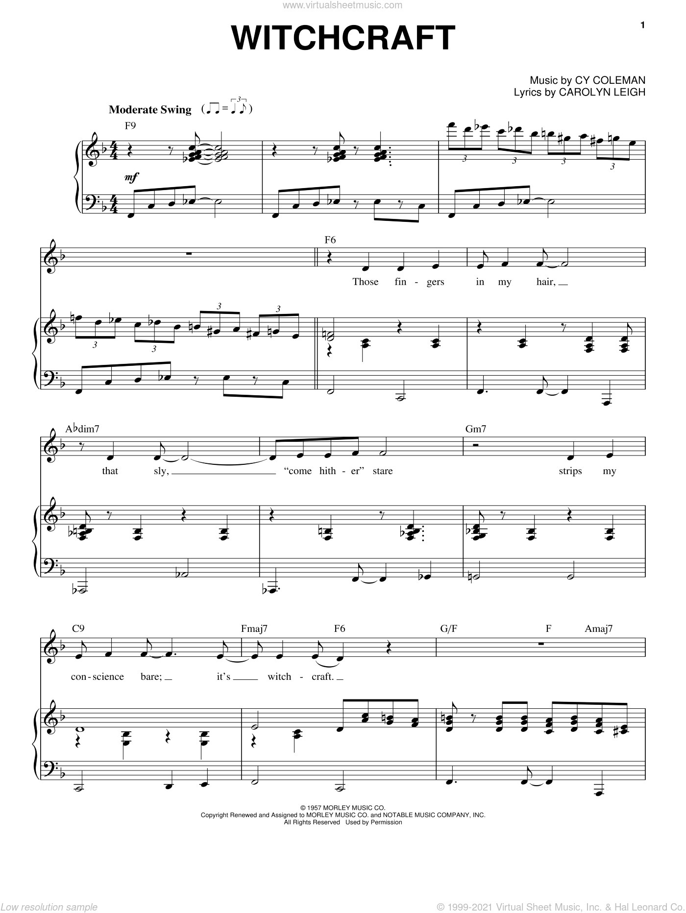 Witchcraft sheet music for voice and piano by Frank Sinatra, Dean Martin, Sammy Davis, Jr., Carolyn Leigh and Cy Coleman, intermediate skill level