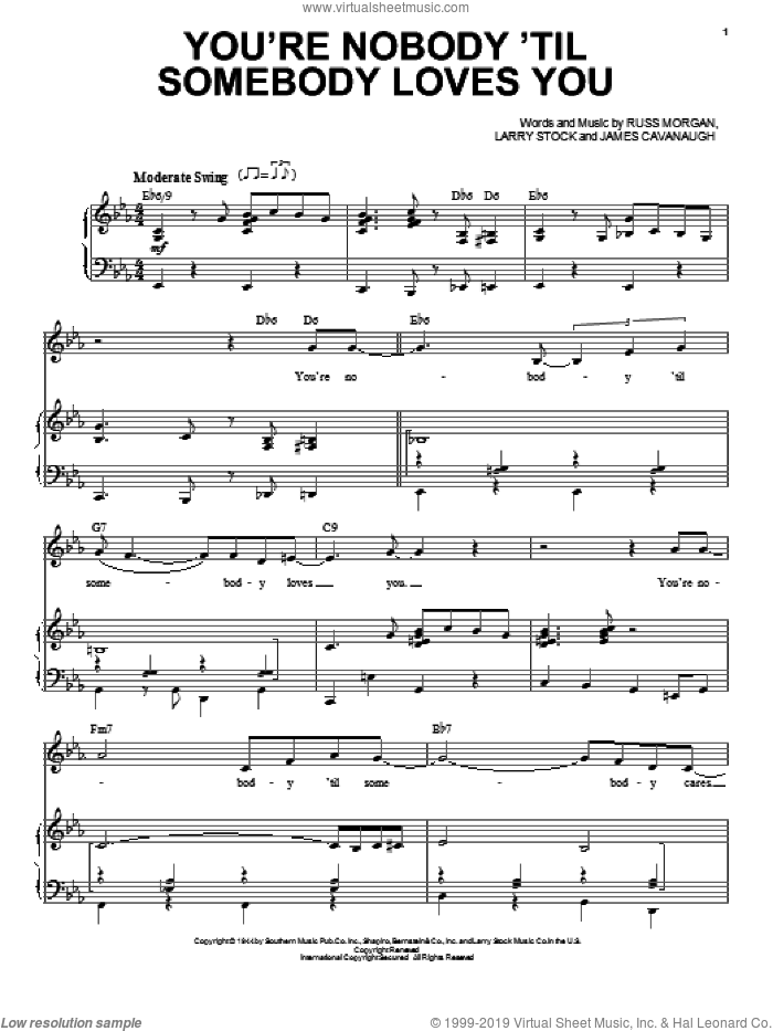 You're Nobody 'Til Somebody Loves You sheet music for voice and piano by Russ Morgan