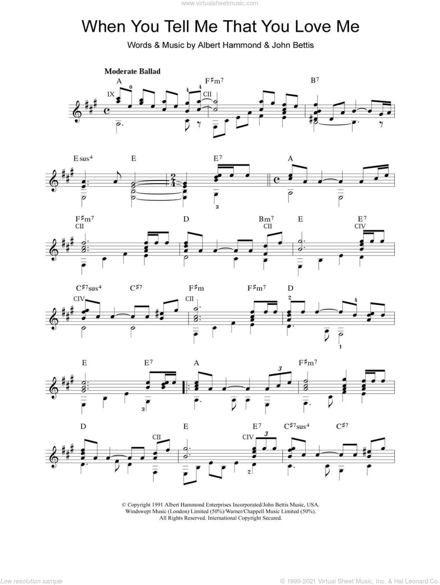When You Tell Me That You Love Me sheet music for guitar solo (chords) by John Bettis, Diana Ross and Albert Hammond. Score Image Preview.