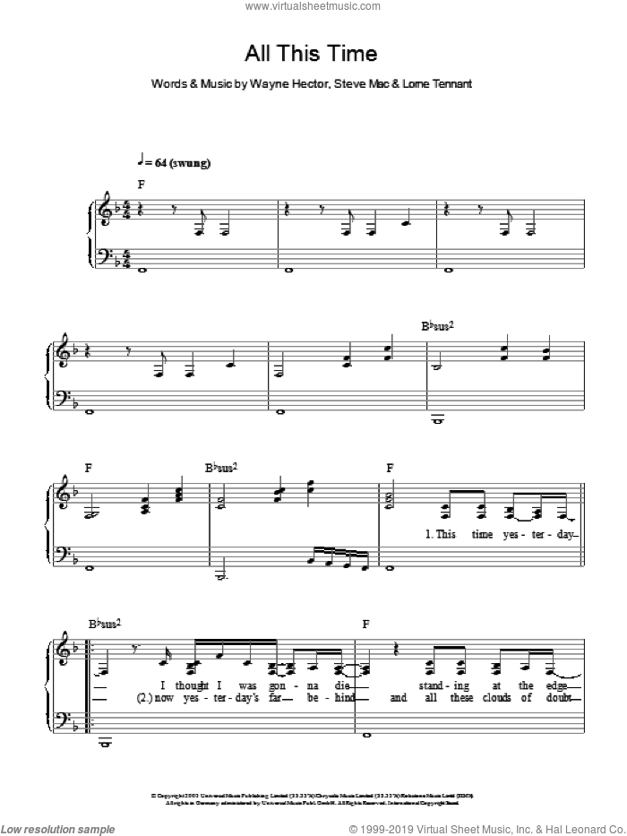 All This Time sheet music for piano solo by Michelle McManus, Steve Mac and Wayne Hector, easy piano. Score Image Preview.