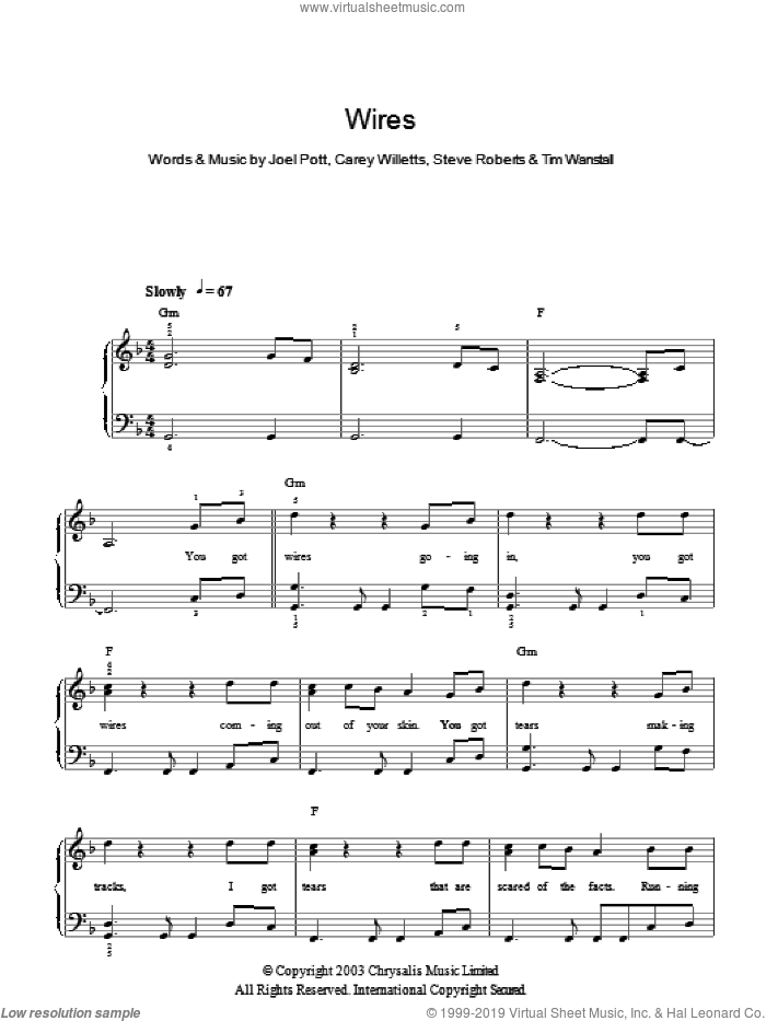 Wires sheet music for piano solo by Athlete, Carey Willetts, Joel Pott, Steve Roberts and Tim Wanstall, easy skill level
