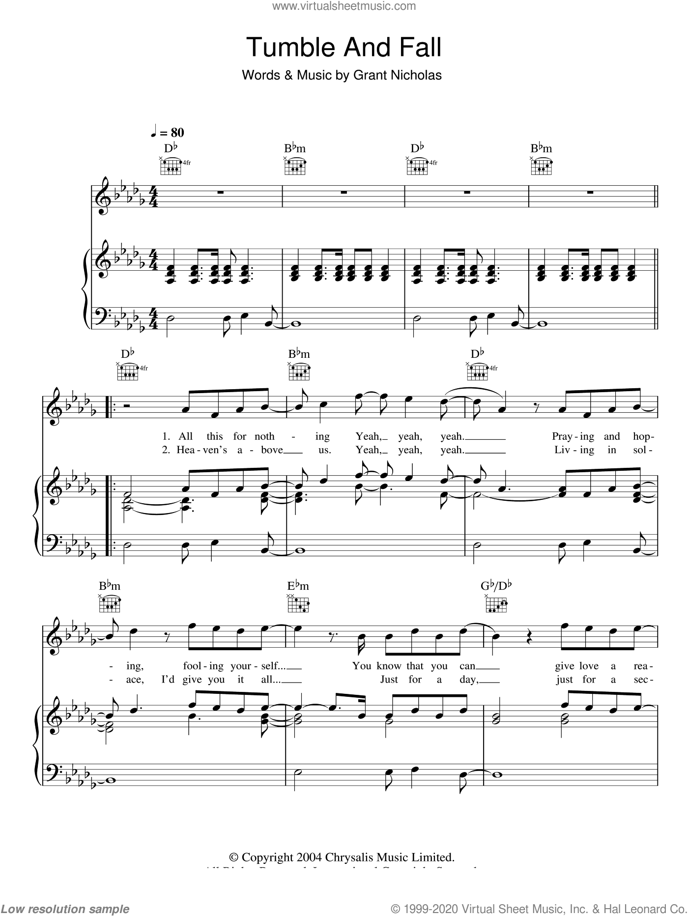 Tumble And Fall sheet music for voice, piano or guitar by Grant Nicholas and Feeder. Score Image Preview.
