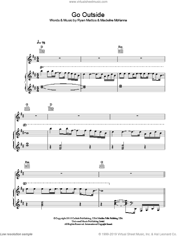 Go Outside sheet music for voice, piano or guitar by Ryan Mattos. Score Image Preview.