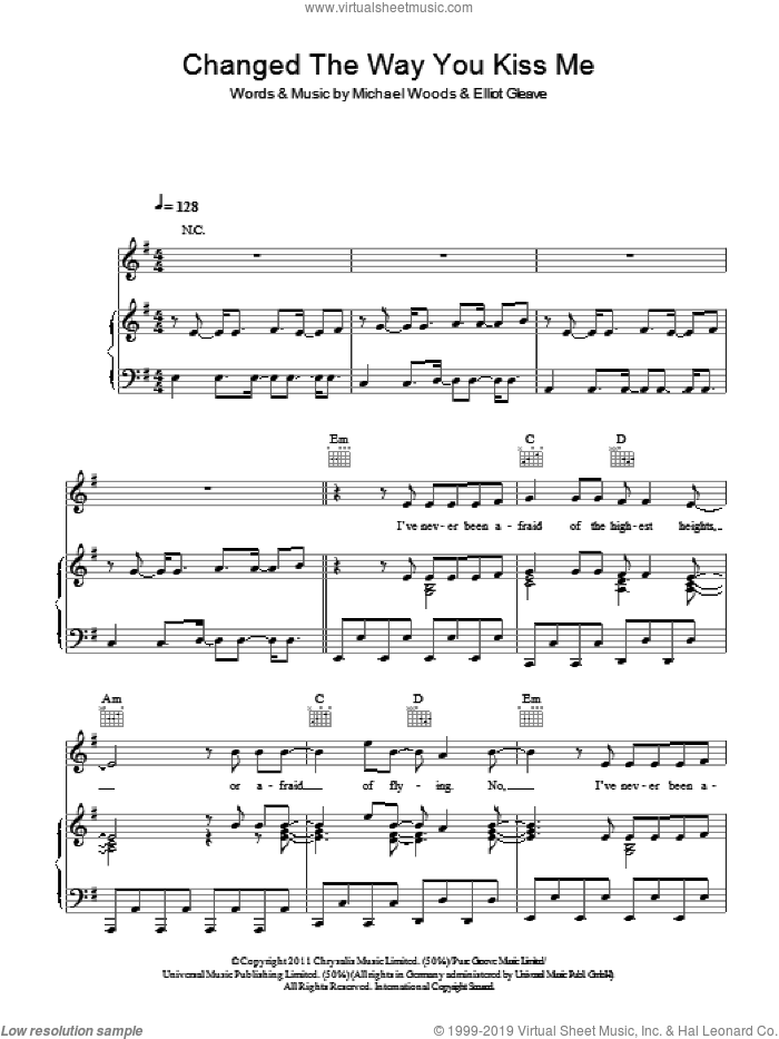 Changed The Way You Kiss Me sheet music for voice, piano or guitar by Example, Elliot Gleave and Michael Woods, intermediate. Score Image Preview.