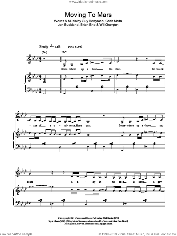 Moving To Mars sheet music for voice, piano or guitar by Will Champion, Coldplay, Brian Eno, Chris Martin, Guy Berryman and Jon Buckland. Score Image Preview.