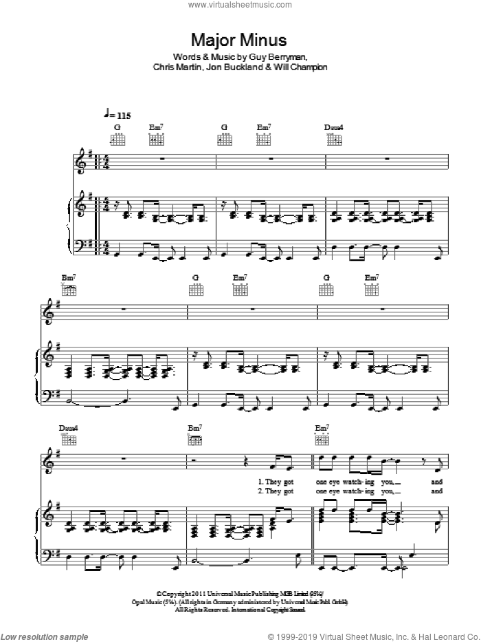 Major Minus sheet music for voice, piano or guitar by Coldplay. Score Image Preview.
