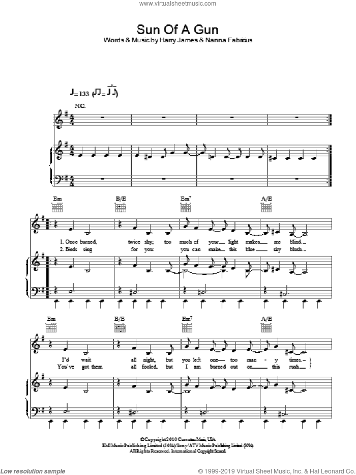 Sun Of A Gun sheet music for voice, piano or guitar by Oh Land and Harry James, intermediate voice, piano or guitar. Score Image Preview.