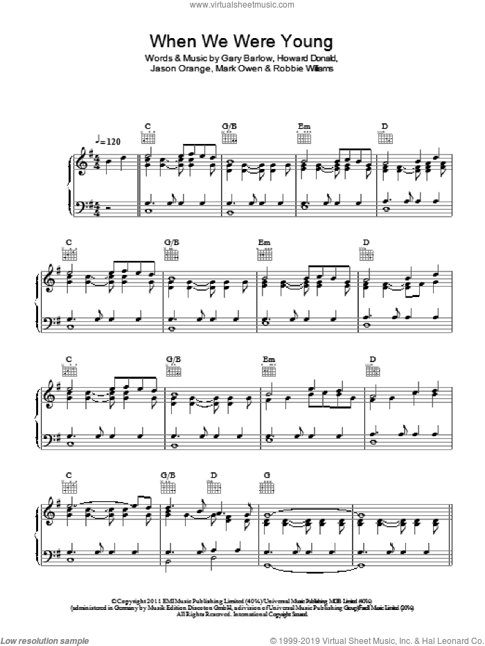 When We Were Young sheet music for voice, piano or guitar by Take That, Gary Barlow, Mark Owen and Robbie Williams, intermediate voice, piano or guitar. Score Image Preview.