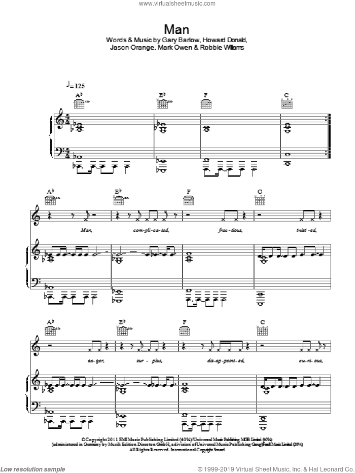 Man sheet music for voice, piano or guitar by Robbie Williams