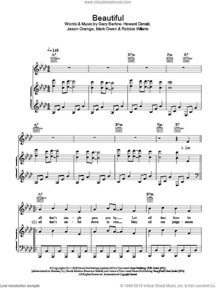 Beautiful sheet music for voice, piano or guitar by Take That, Gary Barlow, Howard Donald, Jason Orange, Mark Owen and Robbie Williams, intermediate skill level