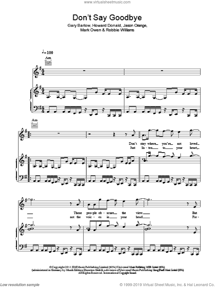 Don't Say Goodbye sheet music for voice, piano or guitar by Take That, Gary Barlow, Howard Donald, Jason Orange, Mark Owen and Robbie Williams, intermediate skill level