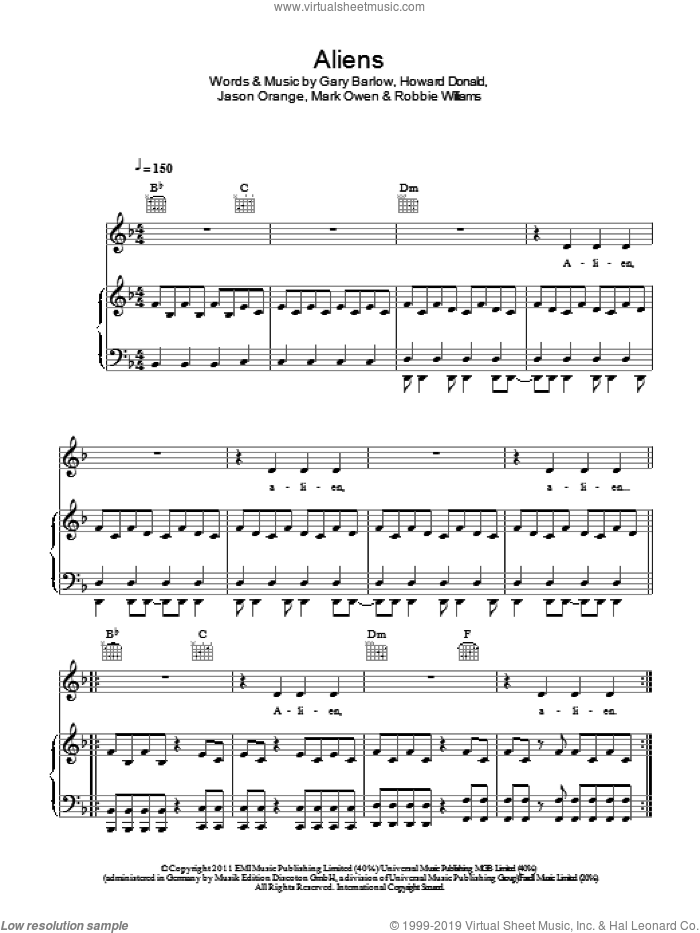 Aliens sheet music for voice, piano or guitar by Robbie Williams, Take That and Gary Barlow. Score Image Preview.
