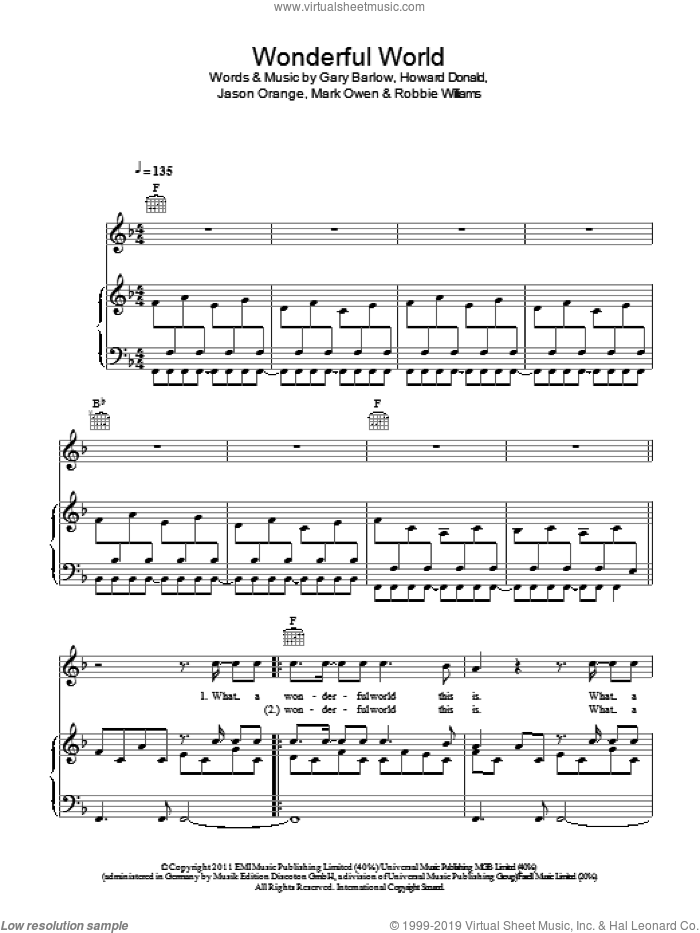 Wonderful World sheet music for voice, piano or guitar by Take That, Gary Barlow, Mark Owen and Robbie Williams. Score Image Preview.