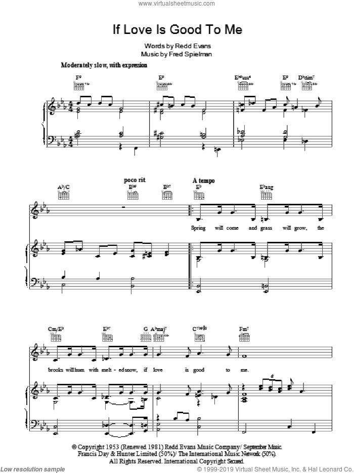 If Love Is Good To Me sheet music for voice, piano or guitar by Redd Evans and Fred Spielman. Score Image Preview.
