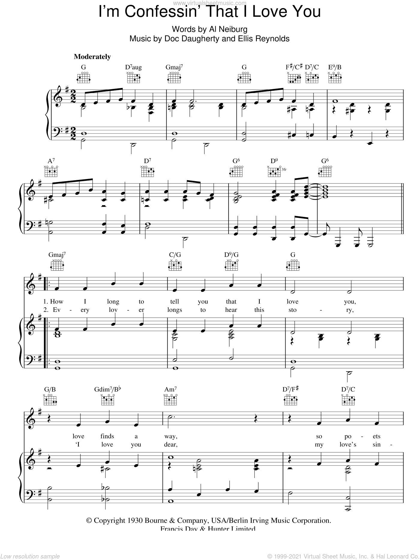 I'm Confessin' That I Love You sheet music for voice, piano or guitar by Perry Como, Doc Daugherty and Ellis Reynolds, intermediate skill level
