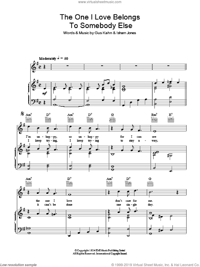 The One I Love Belongs To Somebody Else sheet music for voice, piano or guitar by Al Jolson, Gus Kahn and Isham Jones, intermediate skill level