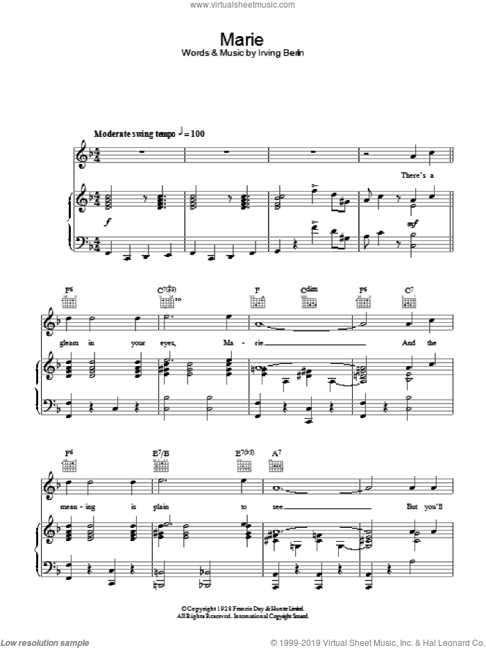 Marie sheet music for voice, piano or guitar by Vic Damone and Irving Berlin, intermediate
