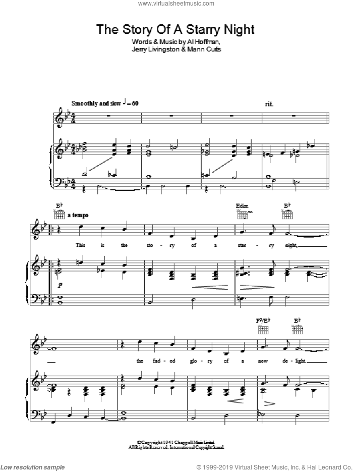 The Story Of A Starry Night sheet music for voice, piano or guitar by Mann Curtis