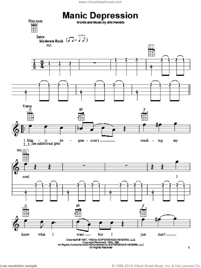Manic Depression sheet music for ukulele by Jimi Hendrix. Score Image Preview.